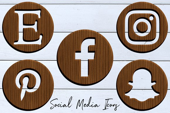 Wodden Social Media Icons Set