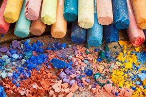 Pastel crayons closeup