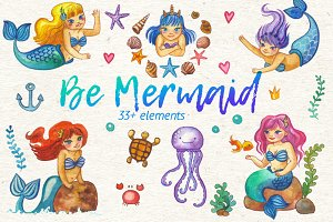 Be Mermaid watercolor illustrations