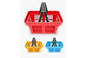 Set of shopping baskets from supermarket
