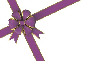 christmas bow in purple and gold
