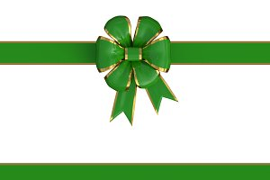 present bow in green and gold