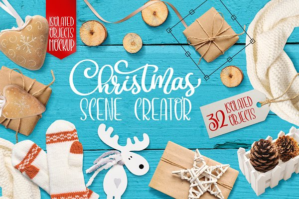 Christmas scenes, isolated items