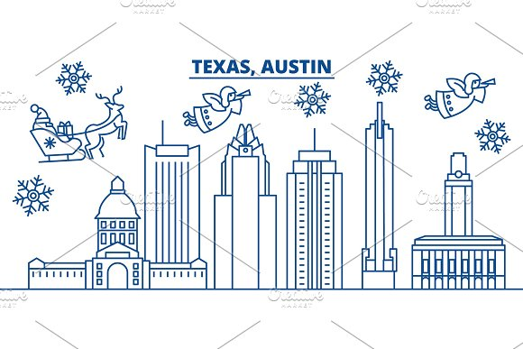 usa california austin winter city skyline merry christmas and happy new year decorated