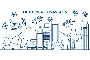 USA, California, Los Angeles winter city skyline. Merry Christmas and Happy New Year decorated banner. Winter greeting card with snow and Santa Claus. Flat, line vector. Linear christmas illustration