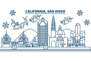 USA, California, San Diego winter city skyline. Merry Christmas and Happy New Year decorated banner. Winter greeting card with snow and Santa Claus. Flat, line vector. Linear christmas illustration