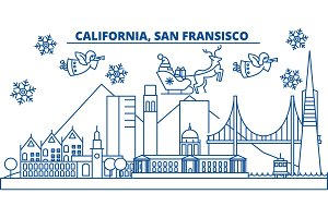 USA, California, San Francisco winter city skyline. Merry Christmas and Happy New Year decorated banner. Winter greeting card with snow and Santa Claus.Flat, line vector. Linear christmas illustration