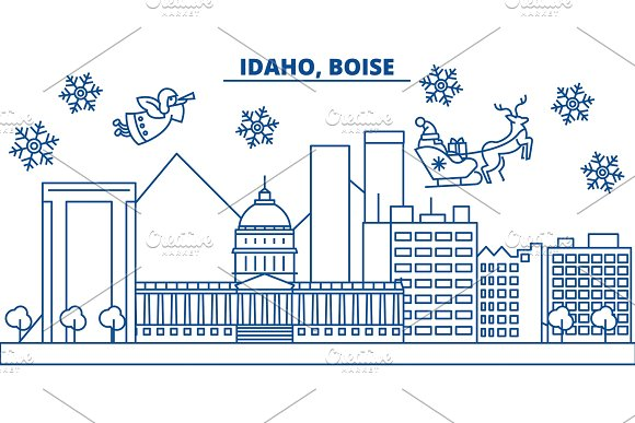 USA Idaho Boise Winter City Skyline Merry Christmas And Happy New Year Decorated Banner Winter Greeting Card With Snow And Santa Claus Flat Line Vector Linear Christmas Illustration