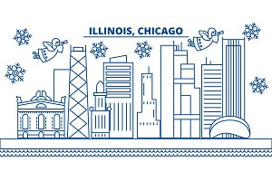 USA, Illinois , Chicago winter city skyline. Merry Christmas and Happy New Year decorated banner. Winter greeting card with snow and Santa Claus. Flat, line vector. Linear christmas illustration
