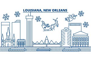 USA, Louisiana , New Orleans winter city skyline. Merry Christmas and Happy New Year decorated banner. Winter greeting card with snow and Santa Claus. Flat, line vector. Linear christmas illustration