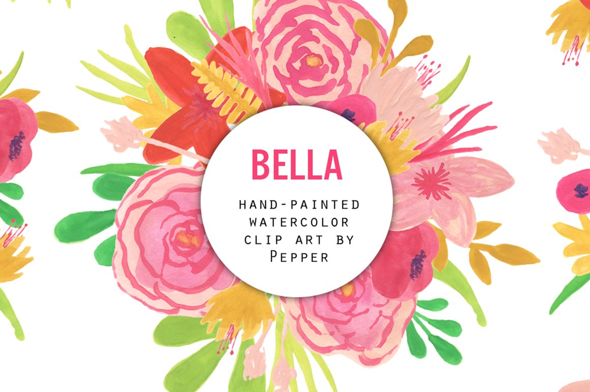 Watercolor Flower Clipart Pink Illustrations Creative Market