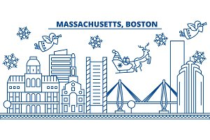 USA, Massachusetts , Boston winter city skyline. Merry Christmas and Happy New Year decorated banner. Winter greeting card with snow and Santa Claus. Flat, line vector. Linear christmas illustration