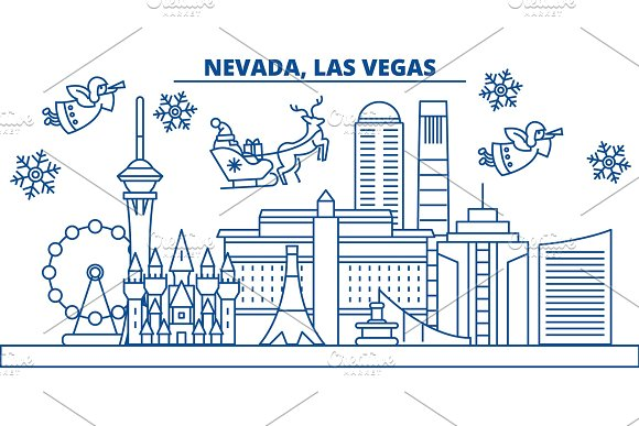 usa nevada las vegas winter city skyline merry christmas and happy new year