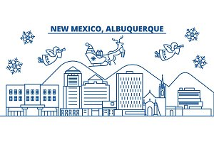 USA, New Mexico , Albuquerque winter city skyline. Merry Christmas and Happy New Year decorated banner. Winter greeting card with snow and Santa Claus. Flat, line vector. Linear christmas illustration