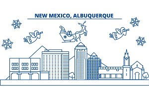 USA, New Mexico , Albuquerque winter city skyline. Merry Christmas and Happy New Year decorated banner.Winter greeting card with snow and Santa Claus. Flat, line vector. Linear christmas illustration