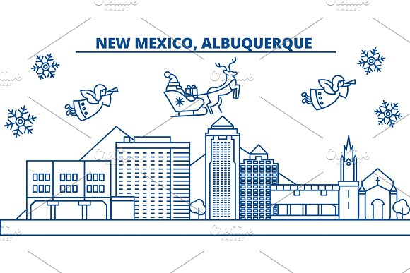 USA New Mexico Albuquerque Winter City Skyline Merry Christmas And Happy New Year Decorated Banner.Winter Greeting Card With Snow And Santa Claus Flat Line Vector Linear Christmas Illustration