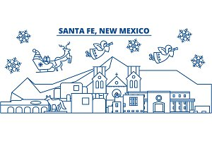 USA, New Mexico, Santa Fe winter city skyline. Merry Christmas and Happy New Year decorated banner. Winter greeting card with snow and Santa Claus. Flat, line vector. Linear christmas illustration