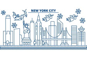 USA, New York , New York City winter city skyline. Merry Christmas and Happy New Year decorated banner. Winter greeting card with snow and Santa Claus. Flat, line vector. Linear christmas illustration