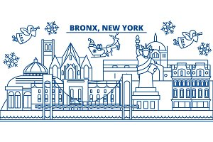 USA, New York, Bronx winter city skyline. Merry Christmas and Happy New Year decorated banner. Winter greeting card with snow and Santa Claus. Flat, line vector. Linear christmas illustration