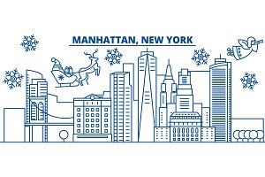 USA, New York, Manhattan winter city skyline. Merry Christmas and Happy New Year decorated banner. Winter greeting card with snow and Santa Claus. Flat, line vector. Linear christmas illustration