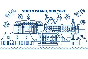 USA, New York, Staten Island winter city skyline. Merry Christmas and Happy New Year decorated banner. Winter greeting card with snow and Santa Claus. Flat, line vector. Linear christmas illustration