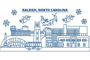 USA, North Carolina, Raleigh winter city skyline. Merry Christmas and Happy New Year decorated banner. Winter greeting card with snow and Santa Claus. Flat, line vector. Linear christmas illustration
