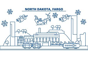 USA, North Dakota , Fargo winter city skyline. Merry Christmas and Happy New Year decorated banner. Winter greeting card with snow and Santa Claus. Flat, line vector. Linear christmas illustration