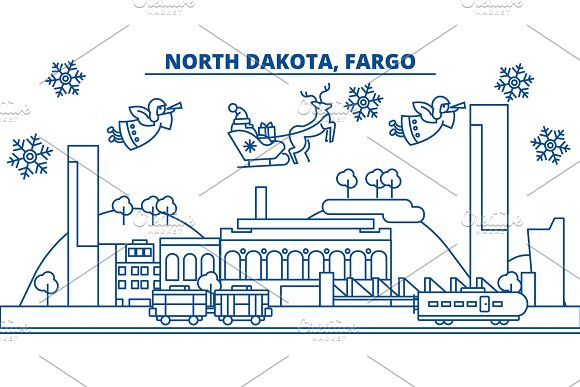 USA North Dakota Fargo Winter City Skyline Merry Christmas And Happy New Year Decorated Banner Winter Greeting Card With Snow And Santa Claus Flat Line Vector Linear Christmas Illustration