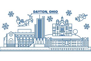 USA, Ohio, Dayton winter city skyline. Merry Christmas and Happy New Year decorated banner. Winter greeting card with snow and Santa Claus. Flat, line vector. Linear christmas illustration