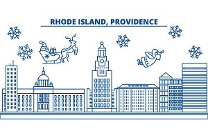 USA, Rhode Island , Providence winter city skyline. Merry Christmas and Happy New Year decorated banner.Winter greeting card with snow and Santa Claus.Flat, line vector. Linear christmas illustration