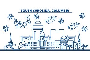 USA, South Carolina , Columbia winter city skyline. Merry Christmas and Happy New Year decorated banner.Winter greeting card with snow and Santa Claus.Flat, line vector. Linear christmas illustration