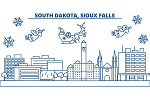 USA, South Dakota , Sioux Falls winter city skyline. Merry Christmas and Happy New Year decorated banner.Winter greeting card with snow and Santa Claus.Flat, line vector. Linear christmas illustration
