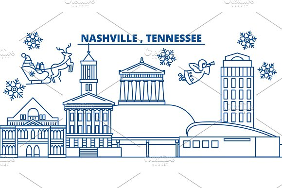 USA Tennessee Nashville Winter City Skyline Merry Christmas And Happy New Year Decorated Banner Winter Greeting Card With Snow And Santa Claus Flat Line Vector Linear Christmas Illustration