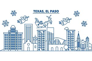 USA, Texas, El Paso winter city skyline. Merry Christmas and Happy New Year decorated banner. Winter greeting card with snow and Santa Claus. Flat, line vector. Linear christmas illustration