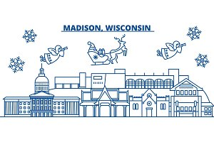 USA, Wisconsin, Madison winter city skyline. Merry Christmas and Happy New Year decorated banner. Winter greeting card with snow and Santa Claus. Flat, line vector. Linear christmas illustration