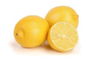 lemon and slice isolated on white background