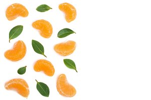slices tangerine with leaves isolated on white background with copy space for your text. Flat lay, top view.