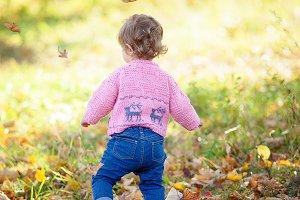 little girl turned her back