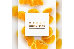 Merry Christmas card. Fruit white background.