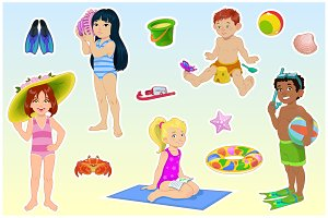 Kids on the beach cartoon vector