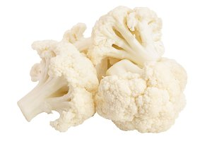 Piece of cauliflower isolated on white background macro. With clipping path