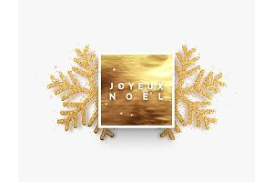 French text Joyeux Noel. Christmas background