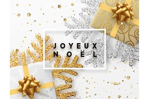 French text Joyeux Noel. Christmas background with gifts box and shining golden and silver snowflakes.