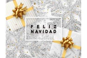 Spanish lettering Feliz Navidad.