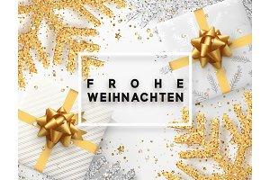 German lettering Frohe Weihnachten.