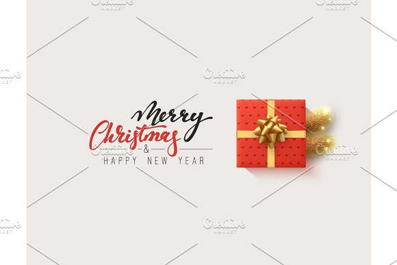 Vector Illustration Letttering Merry Christmas Gift Box Closed Wrapped Ribbon With Bow