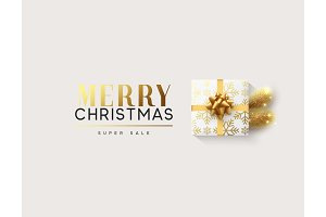 Vector illustration letttering Merry Christmas, gift box closed wrapped ribbon with bow.