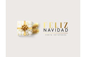 Spanish text Feliz Navidad. Vector illustration letttering Merry Christmas, gift box closed wrapped ribbon with bow.