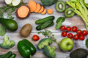 Assortment of alkaline food on wooden background