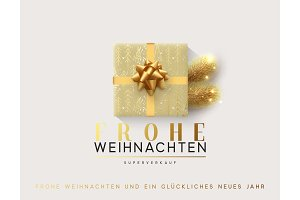 German text Frohe Weihnachten. Vector illustration letttering Merry Christmas, gift box closed wrapped ribbon with bow.